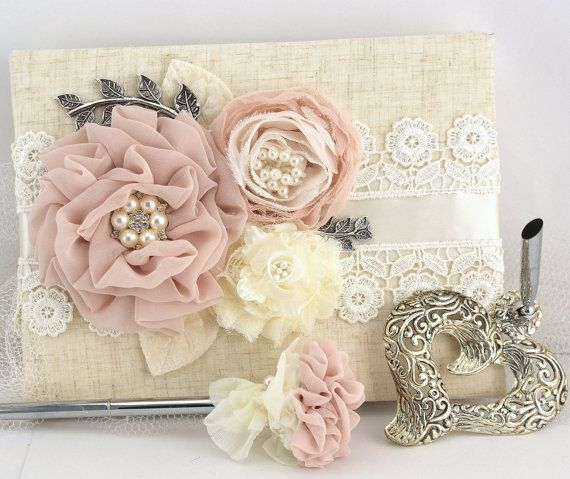 Wedding Guest Book and Pen Set Shabby Chic Vintage Inspired in Ivory and Blush Pink with Linen and Pearls