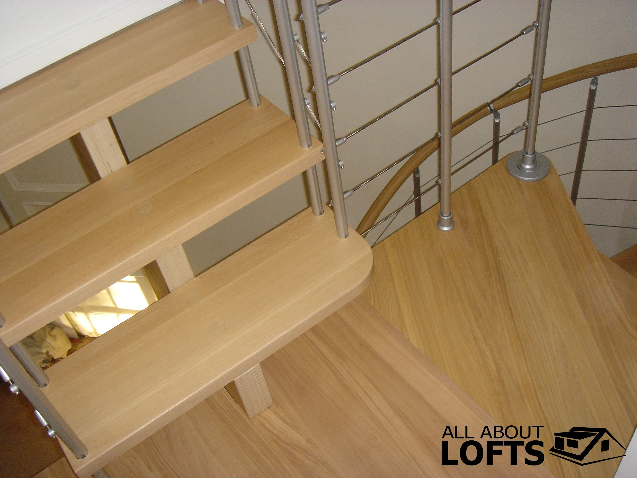 Wood and Metal Spiral Staircase for a Loft Conversion