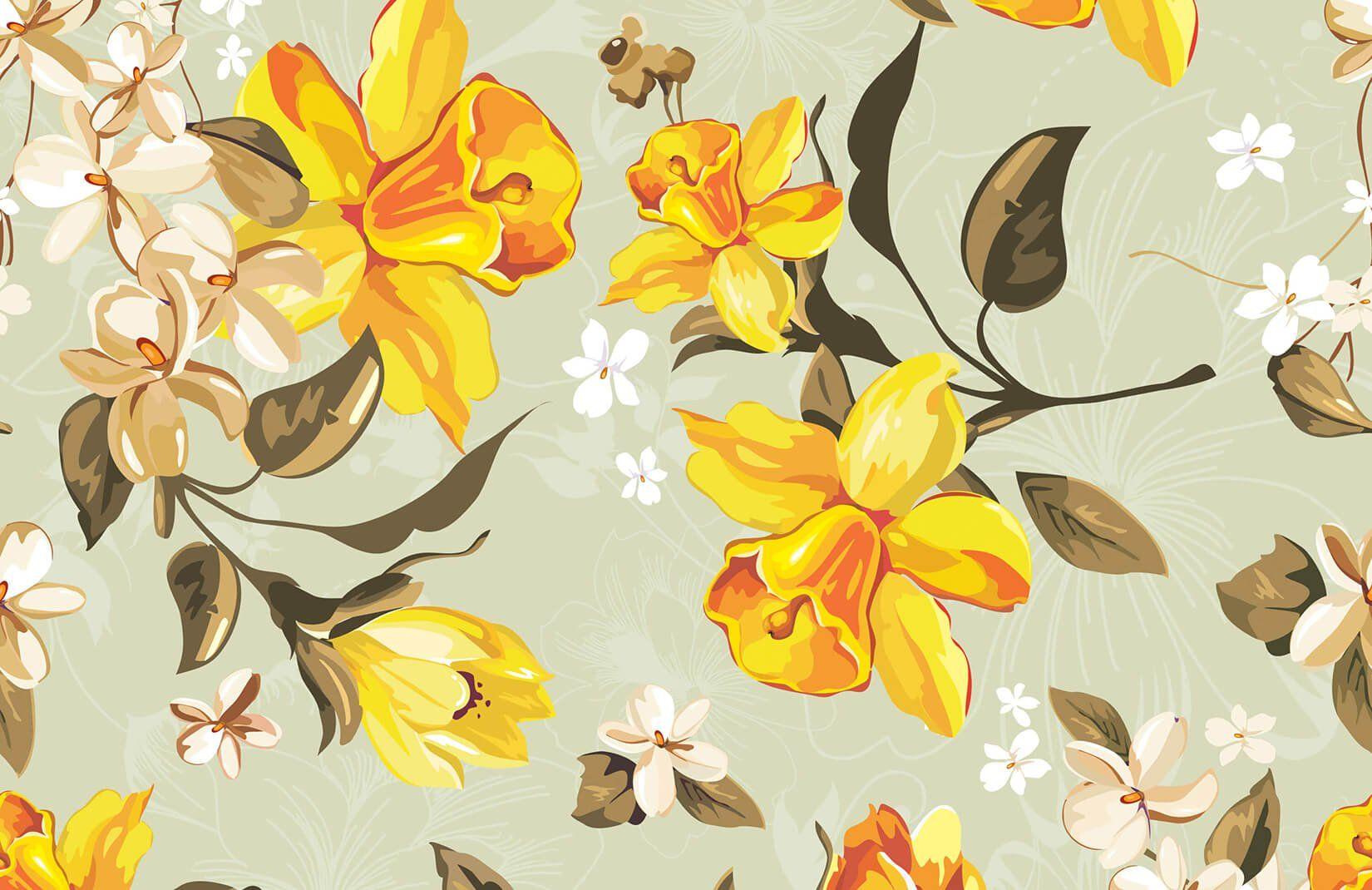 Vintage Floral Flower Wallpaper Murals Wallpaper Vintage Floral Wallpapers Daffodils Mural