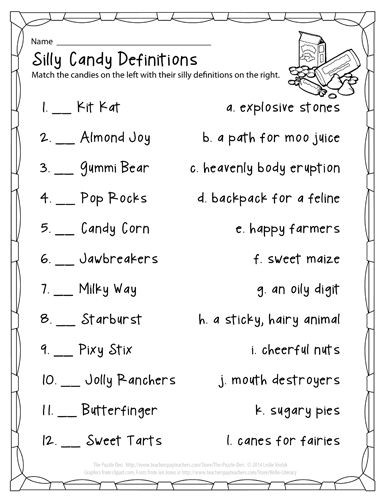 Silly Candy Definitions - a fun Halloween treat! | The Puzzle Den ...