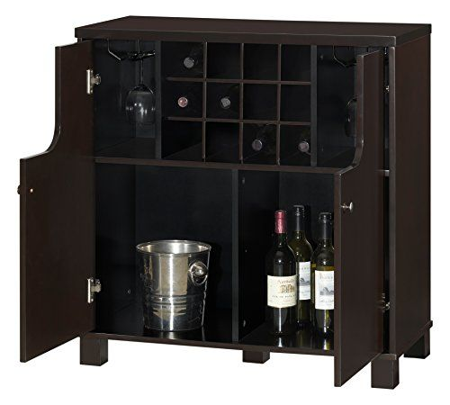 Baxton Studio Murano Modern And Contemporary Wood Dry Bar Wine Cabinet Dark Brown