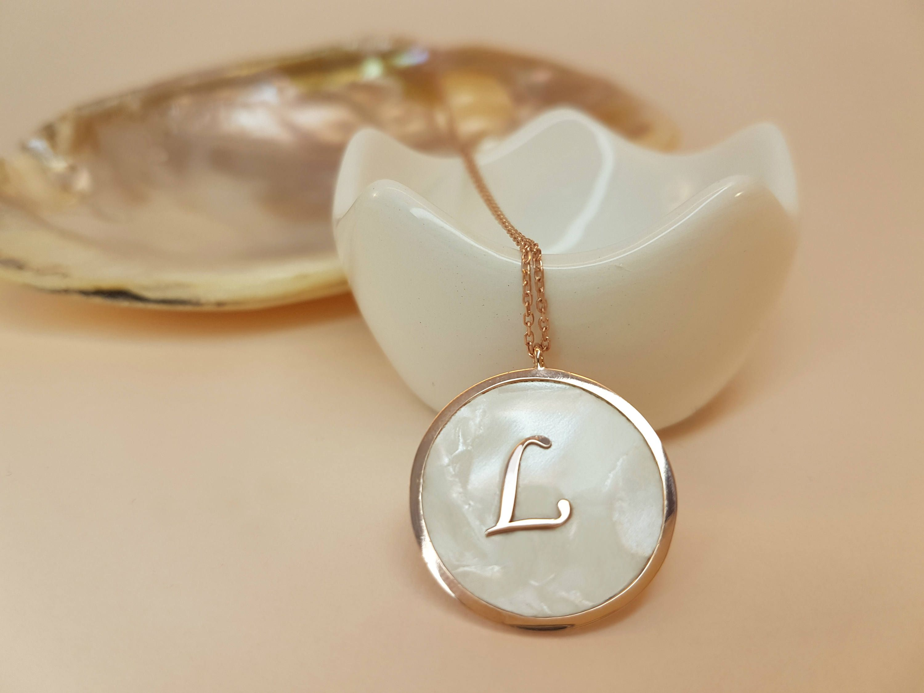 Initial l monogram mother of pearl necklace mother of pearl initial l monogram mother of pearl necklace mother of pearl initial pendant customized aloadofball Gallery