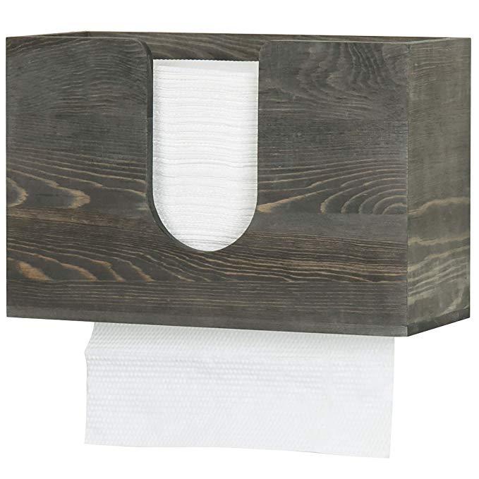 Amazon Com Mygift Vintage Grey Wood Wall Mounted Bathroom Paper