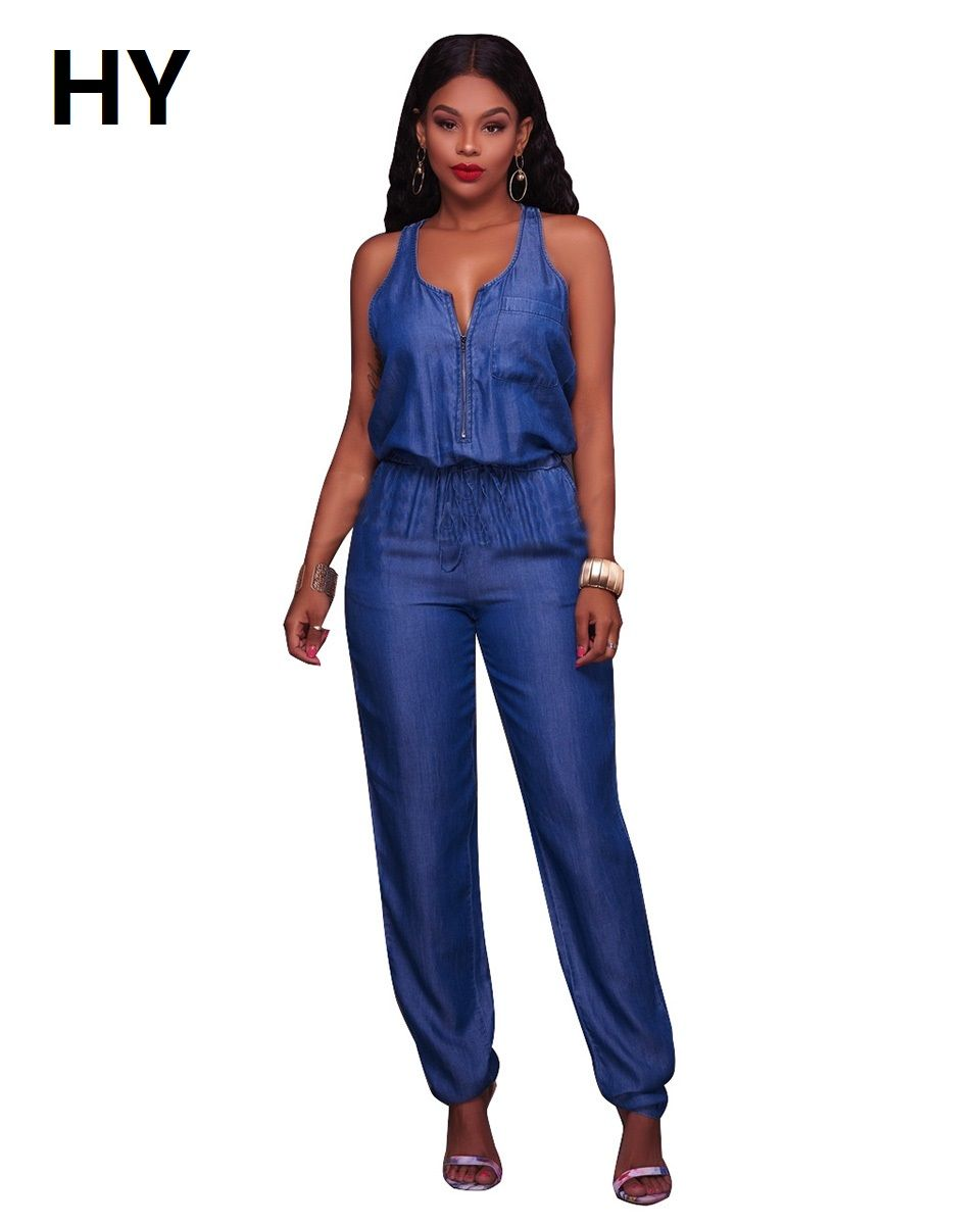 New 2017 Jeans Rompers Sexy Wide Leg Pants Loose Blue Denim Jumpsuit