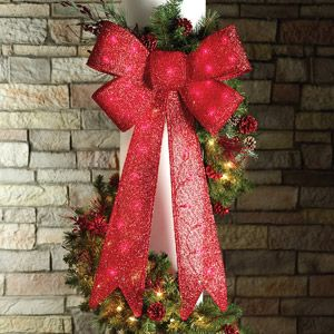 Walmart 36 Indoor Outdoor Lighted Red Tinsel Bow Christmas