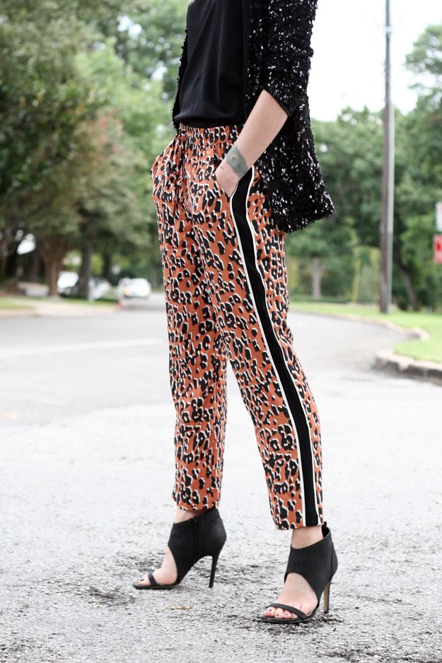 Fall Outfit // black sequin jacket, leopard print pants, black booties, ray-ban sunglasses