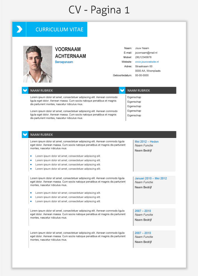 Cv Template  Om Te Downloaden  Cv Template    Cv