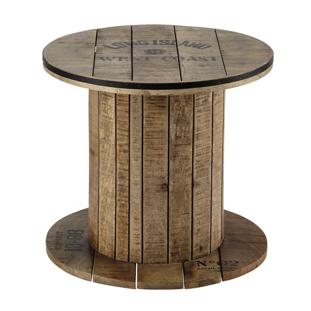 Mesa Auxiliar Torno De Madera De Mango Ø 50 Cm Sailor Side Table Cable Reel Cable Reel Table