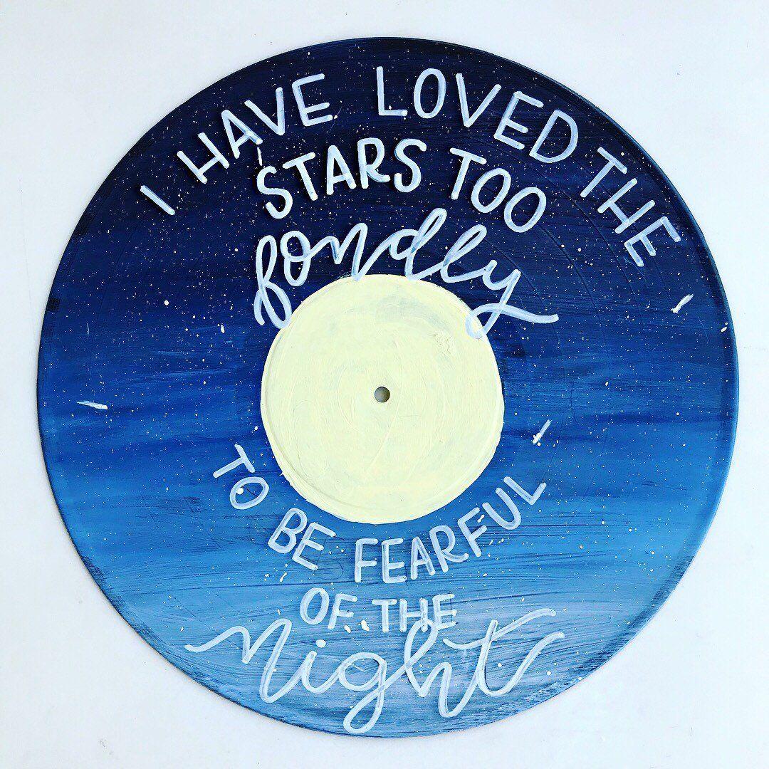 Starry Night Painted Vinyl Starry Night Painted Vinyl Record Painted Record Inspirational Quote Wall Han Vinyl Record Art Vinyl Art Paint Wall Vinyl Decor