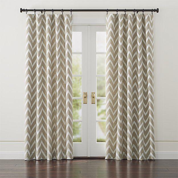 Rorke Black 1 25 Dia X120 170 Curtain Rod Set Crate And Barrel Curtains Living Room Chevron Curtains Curtains