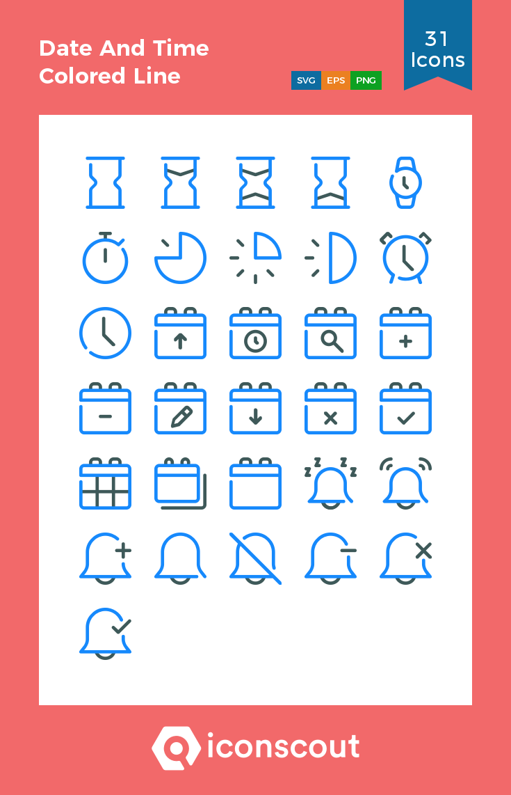 Download Date And Time Colored Line Icon Pack Available In Svg Png Eps Ai Icon Fonts Line Icon Color Lines Icon Pack