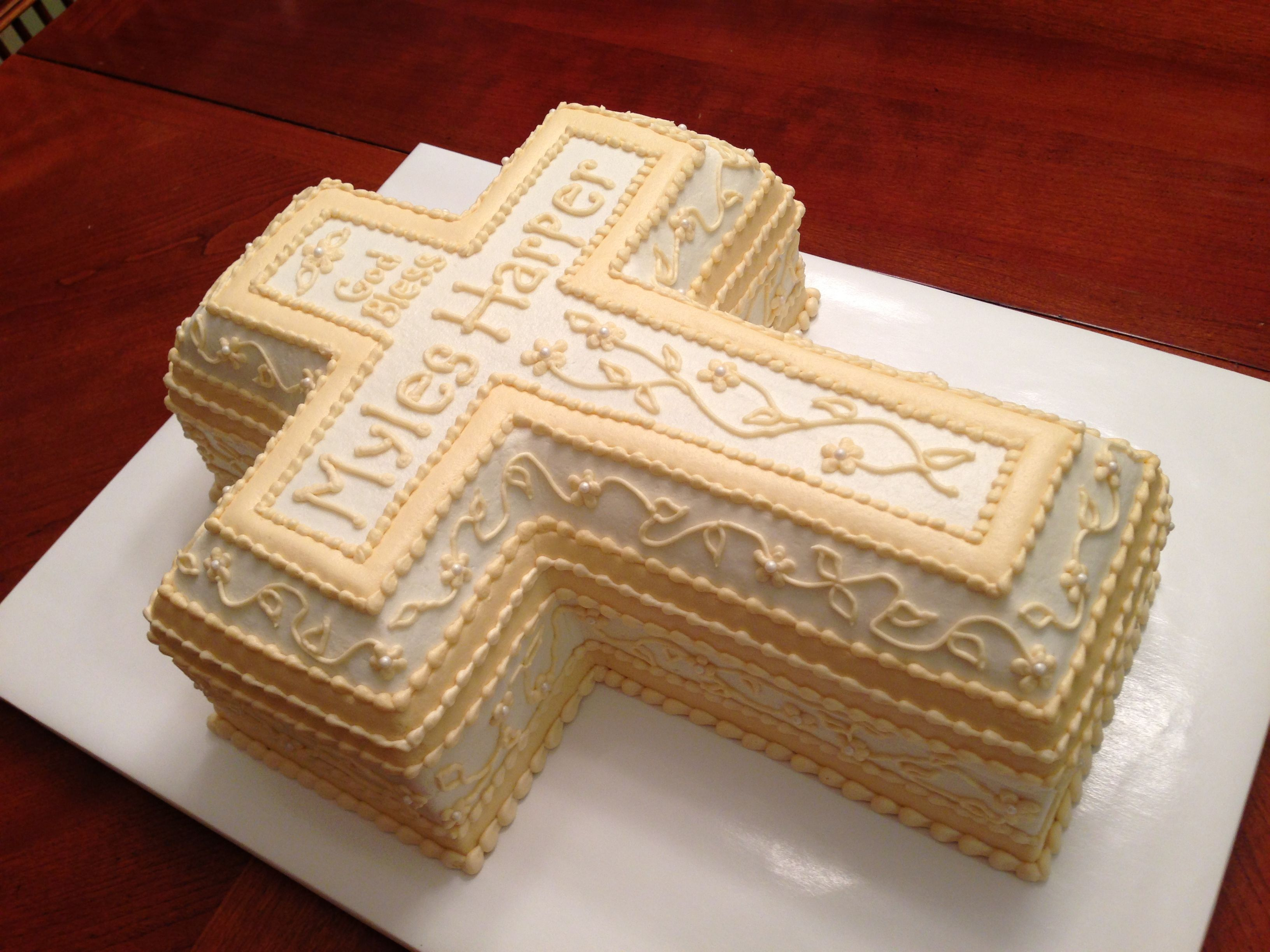 3d Cross Cake For A Christening All Buttercream Used The Wilton