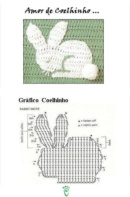 CONEJO   CROCHET APPLIQUE   Pinterest   Conejo, Apliques y Ganchillo