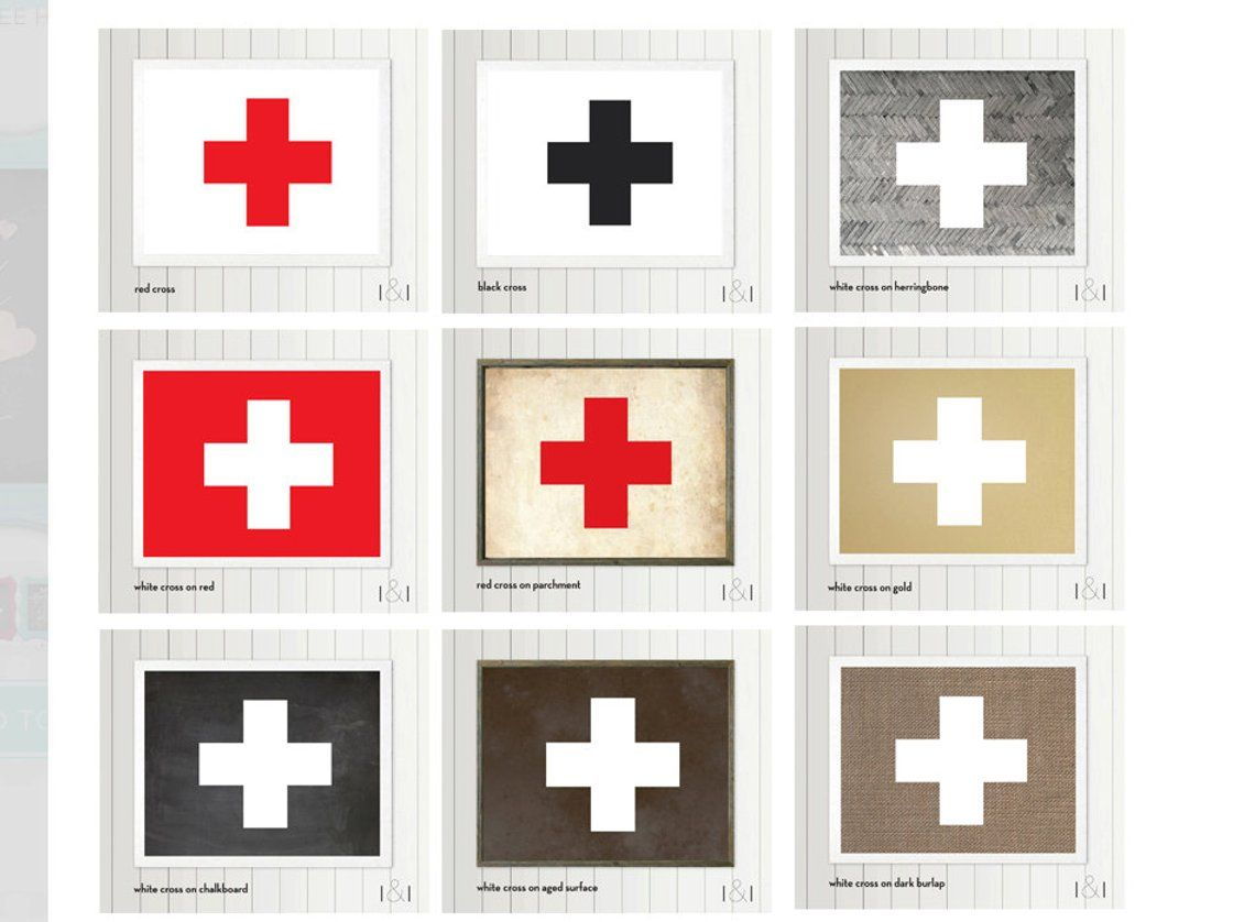 Swiss Cross Poster 9 Colors 6 Sizes Swiss Army Logo Red Red Cross Art Cross Wall Art Red Cross