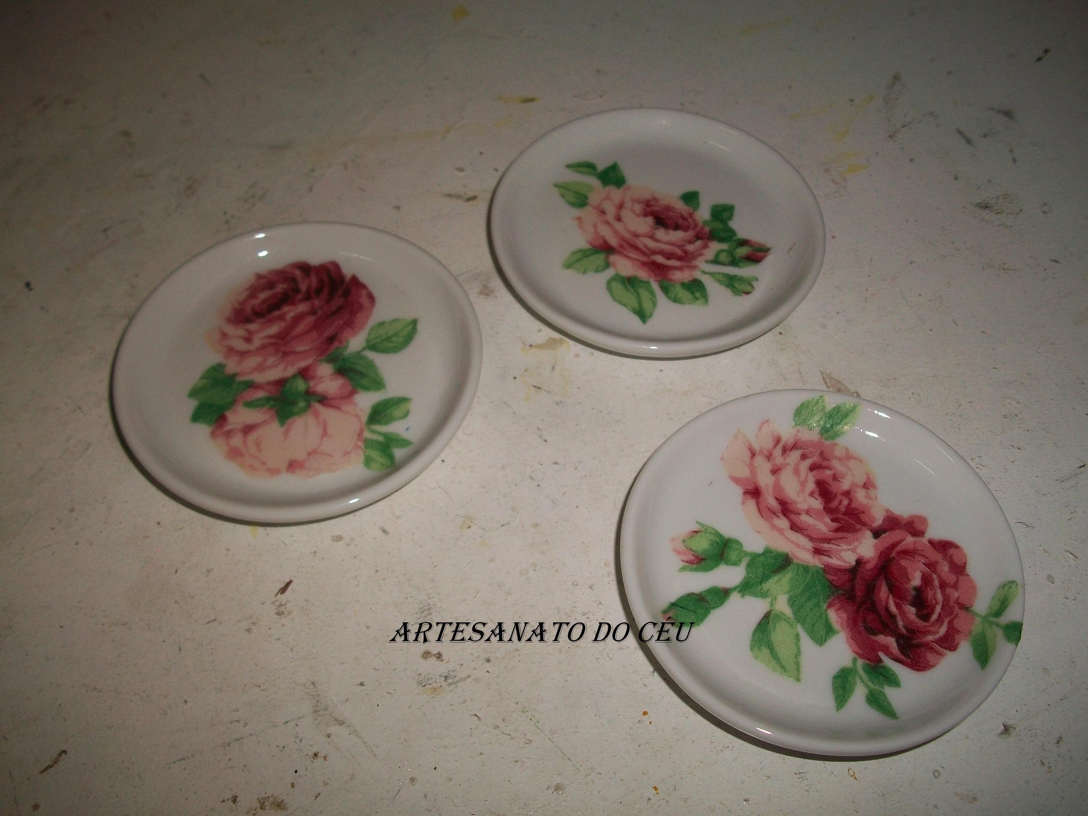 Jogo de 3 Porta Copos Porcelana/decoupage