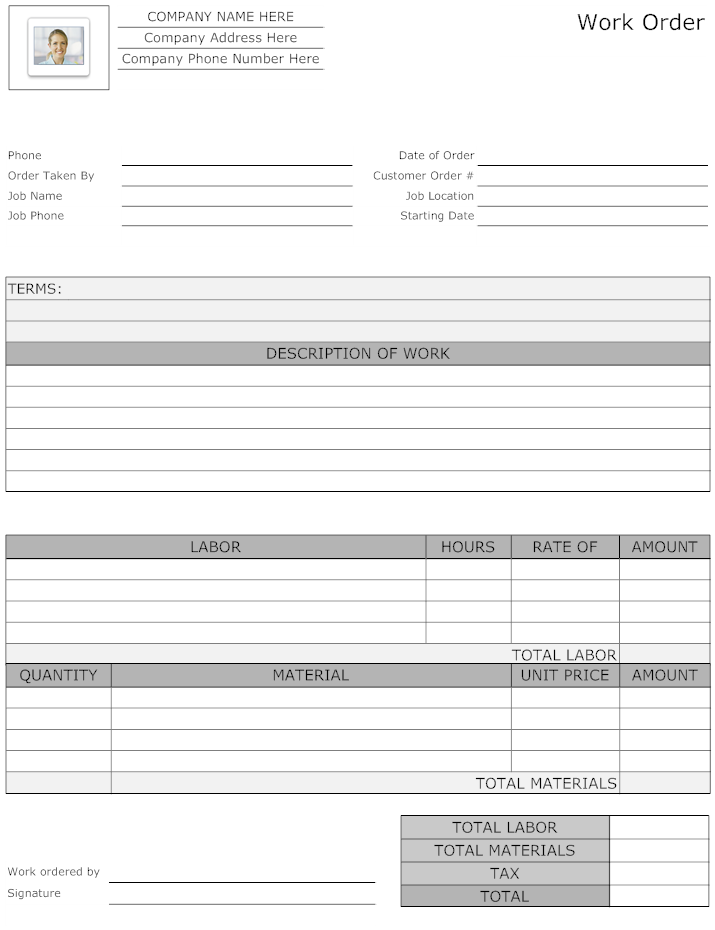 Example Image Maintenance Work Order Form  Work