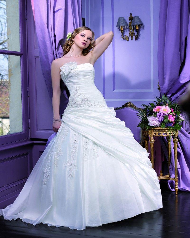 Simple ball gown strapless ruching beading lace sweepbrush train