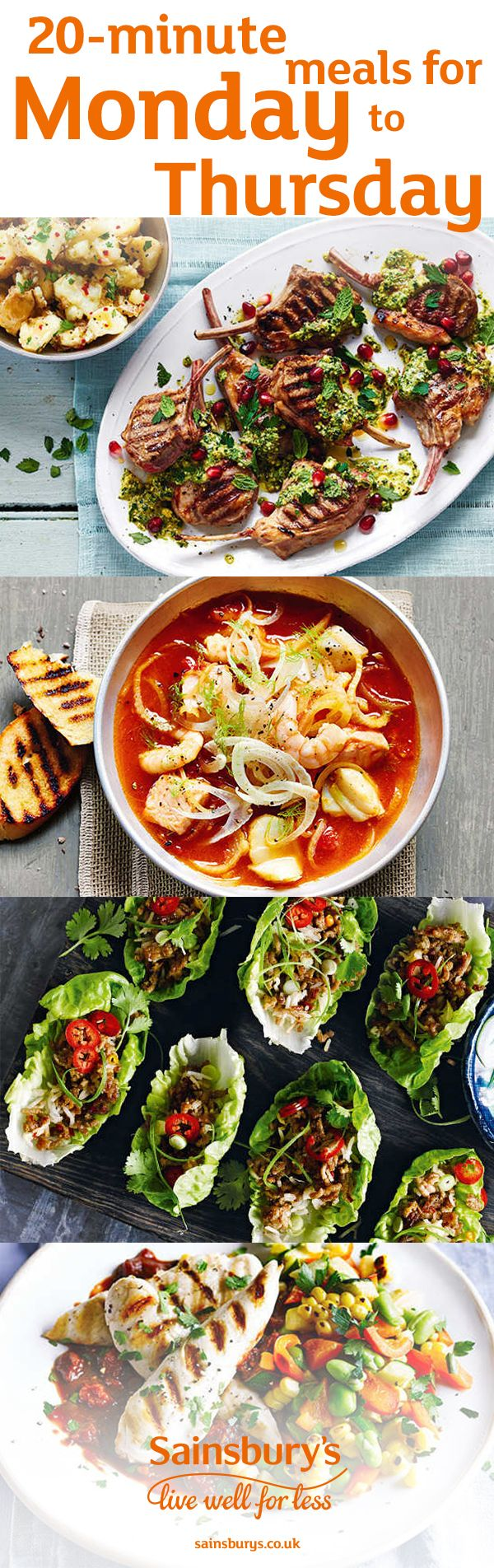Feeling hungry but no time to cook? Here's how to get a homemade dinner on the table in 20 minutes flat. These healthier mid-week meals include lamb chops with pistachio sauce, quick fish and fennel stew with garlic toast, smoky southern-style chicken with succotash and spicy pork larb salad.