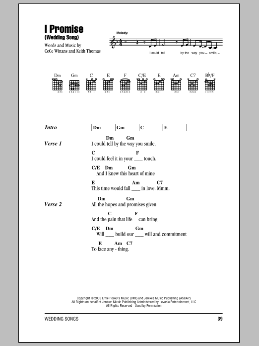 I Promise Wedding Song By Cece Winans Guitar Chords Lyrics Guitar Instructor Guitar Chords And Lyrics Sheet Music Notes Lyrics And Chords