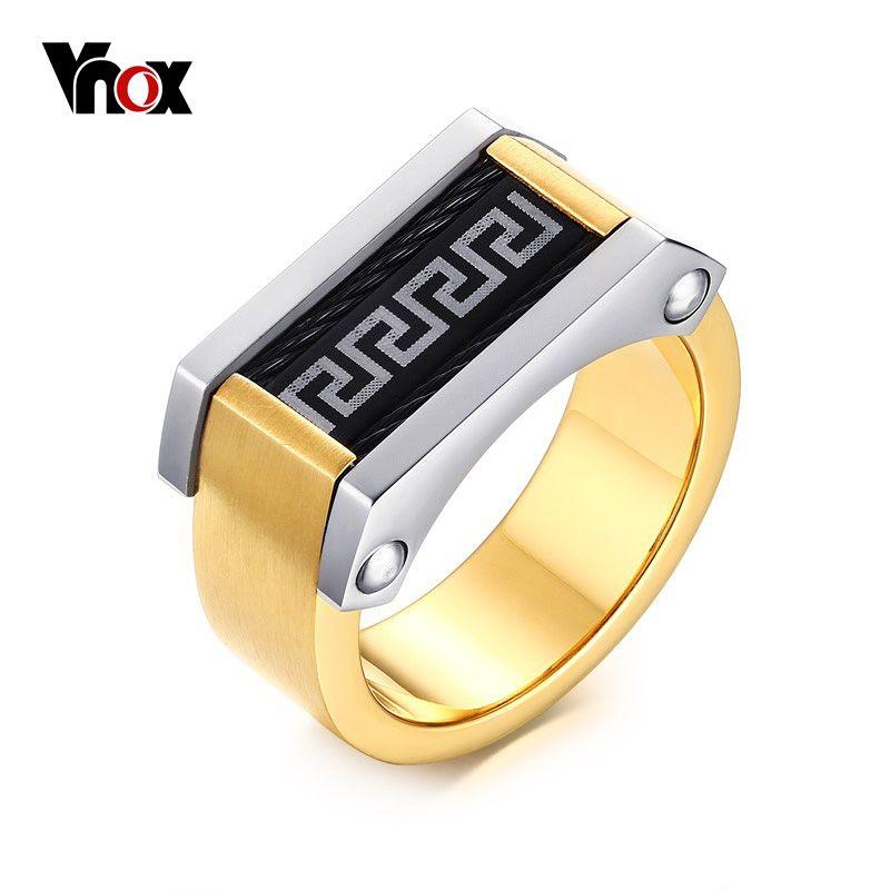 El patrón de clave griego vnox hombres anillos de roca de acero inoxidable 316l de la joyería masculina