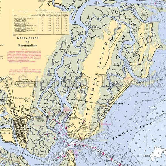 Georgia St Simons Island Nautical Chart Decor Beach Dream