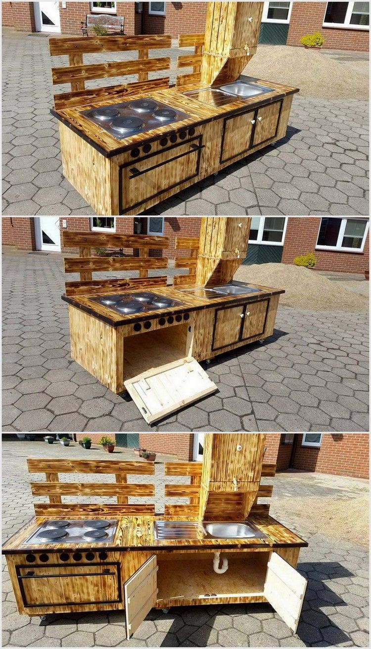 You can now create this awesome wood pallet kitchen set for your indoor or outdoor kitchen you can make it in different shapes or sizes