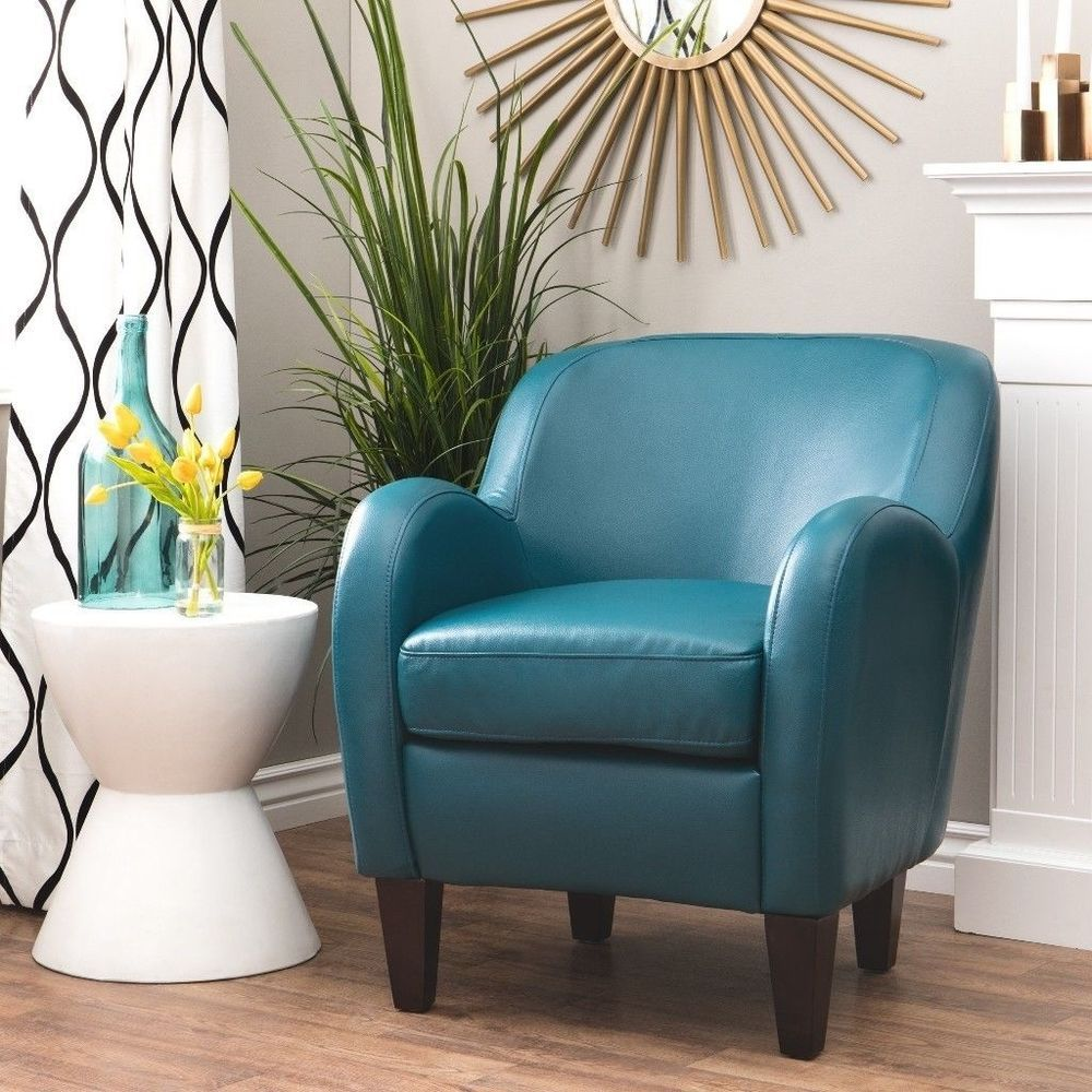 Bedford Turquoise Bonded Leather Tub Chair Padded Seat Living Room ...