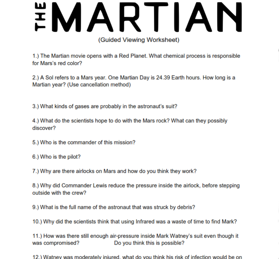 The Martian Movie Guided Chemistry and Physical Science ...