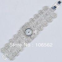 free shipping High Quality Antique Silver Heart Alloy with Crystal Rhinestone Women Girls' Lady Quartz Adjustable Wrist Watch