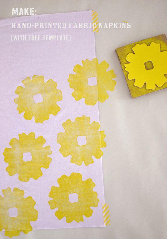Make Hand Printed Fabric Napkins Printing On Fabric