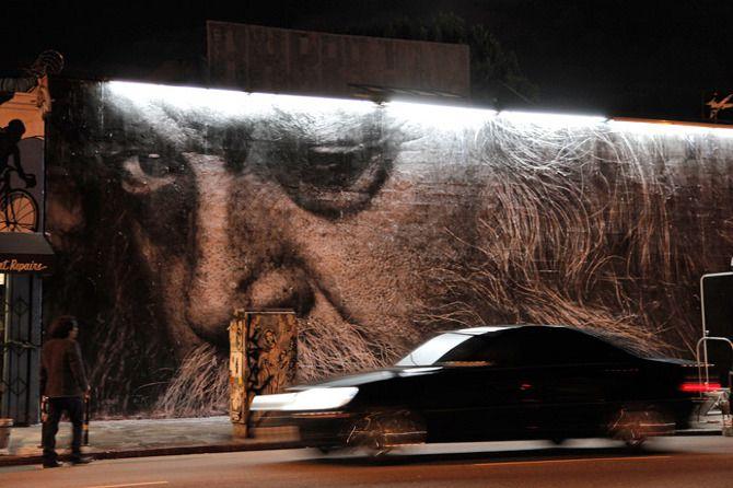 Photos of JR's work in LA courtesy of unurth.