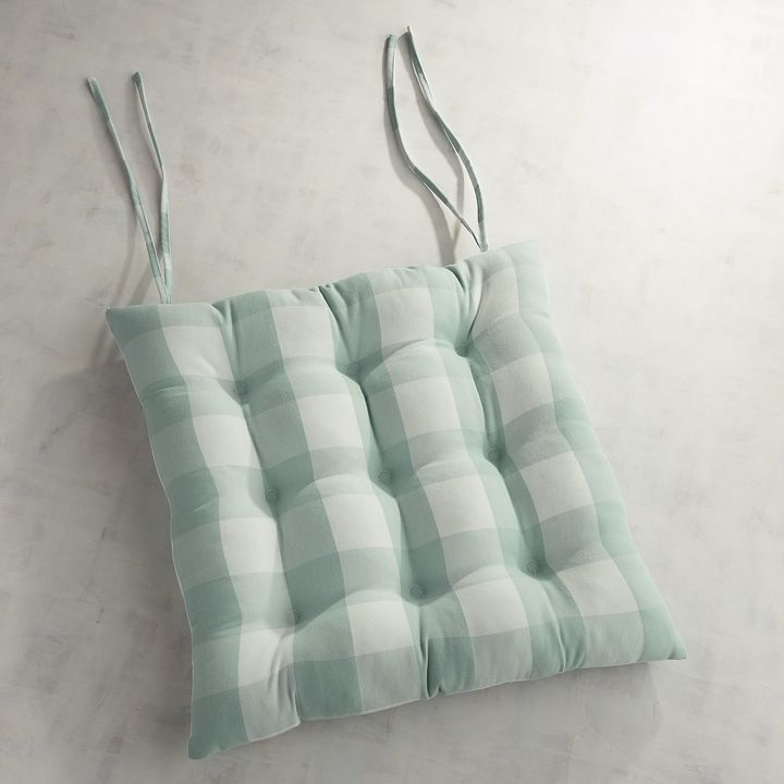 Pier 1 Imports Mist Gingham Dining Cushion