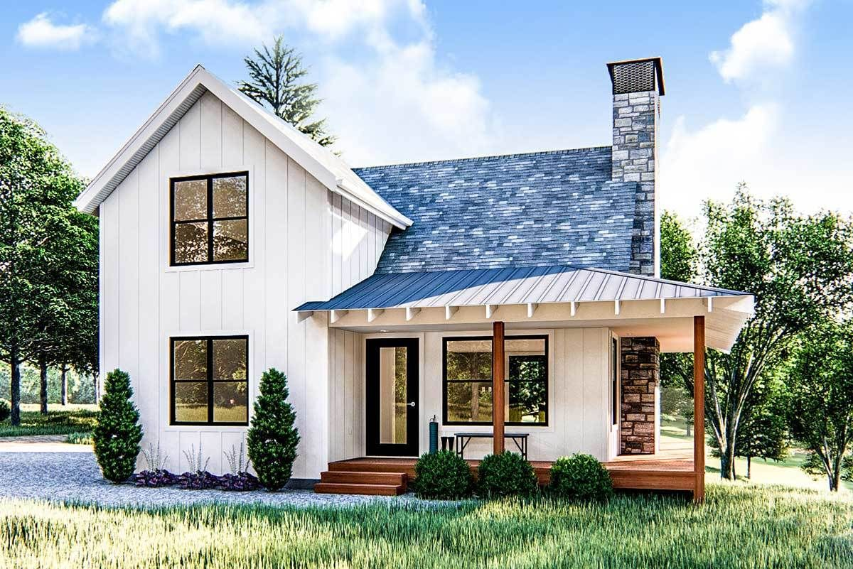 Plan 62690DJ: Modern Farmhouse Cabin with Upstairs Loft