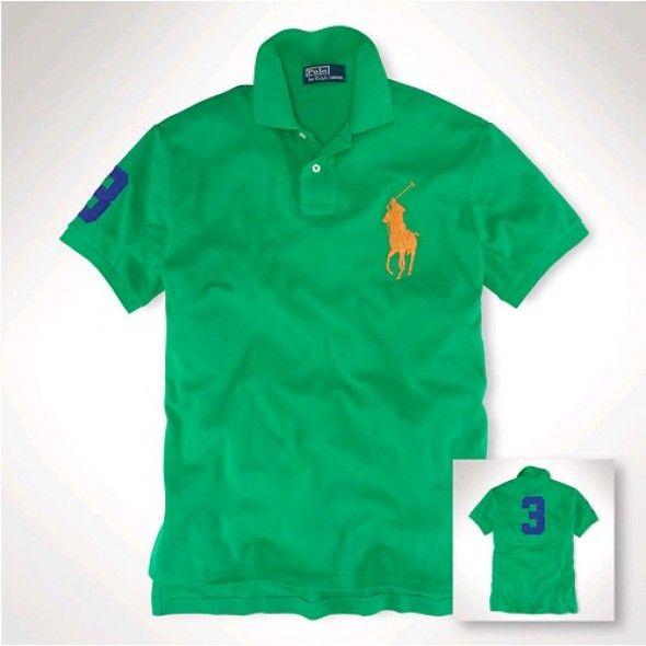 Men Affordable Ralph Lauren Green Orange Big Pony 3 Polo