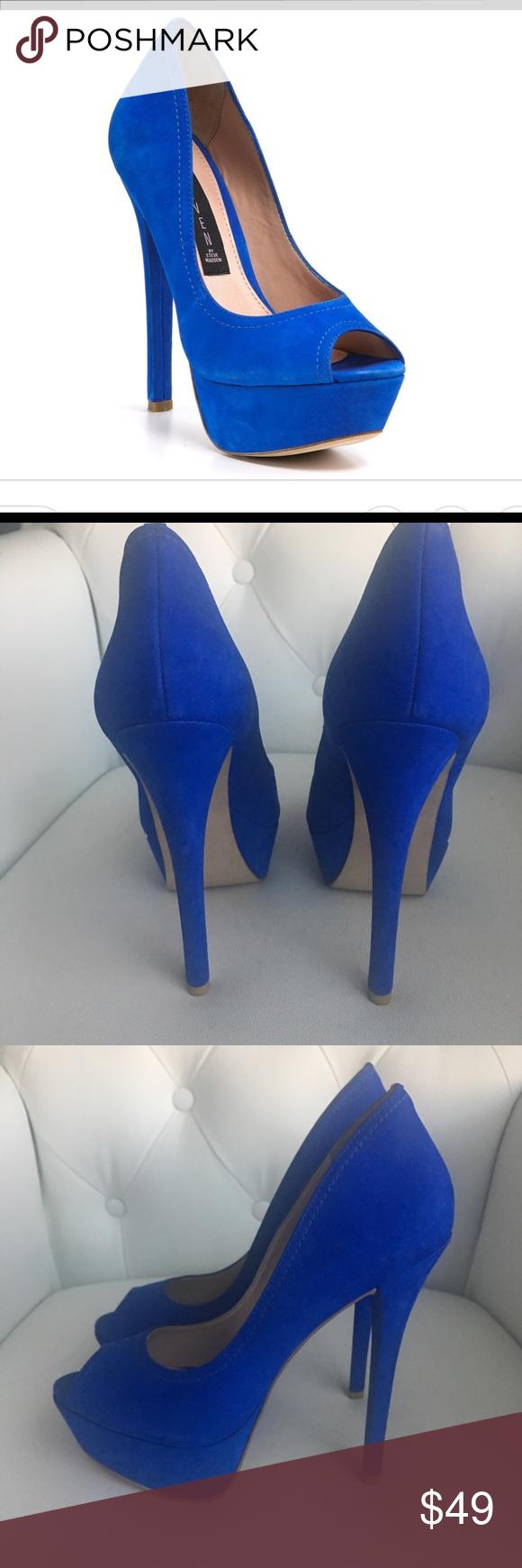 d161c9bc738 Steve Madden Altetude blue nubuck Sz 10 Steve Madden heels sz 10 worn once. Blue  suede. 5 inch heel with 1 inch platform. Comes with original box Steve ...