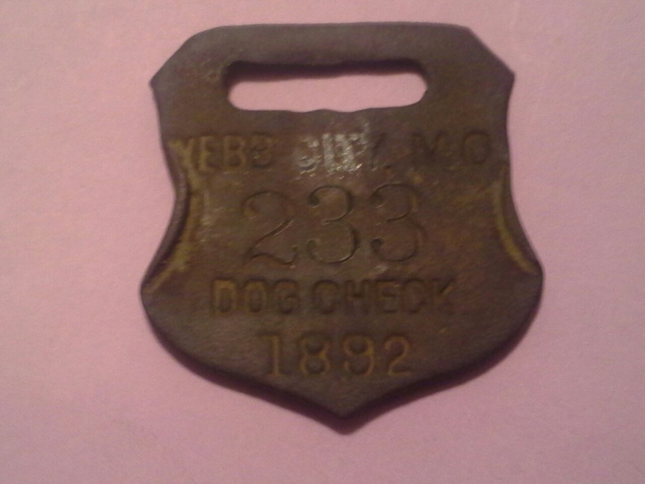 1892 Webb City Missouri DOG CHECK tag (dog tax tag dog