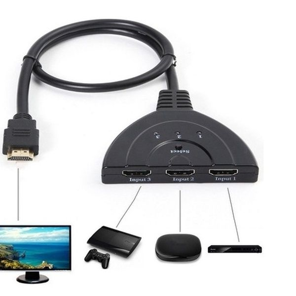 3 IN 1 OUT 1080P Hub V1.4B HDMI Switch Switcher Splitter Cable For PS3 HDTV XBOX