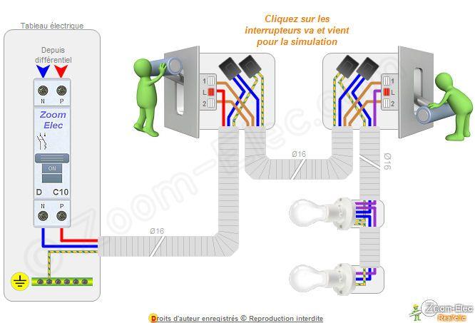 Branchement va et vient electricit pinterest electro music - Installation interrupteur va et vient ...