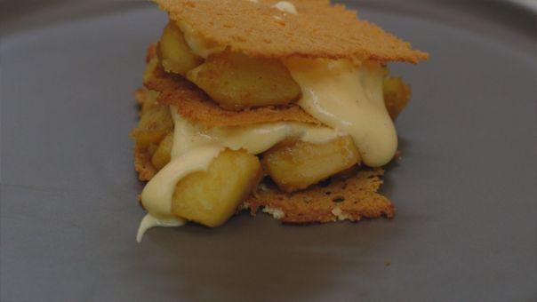 Dagelijkse kost - millefeuille van peperkoek met appel en sabayon