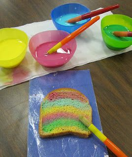 Painted toast made with milk and food coloring. Toast or bake to ...