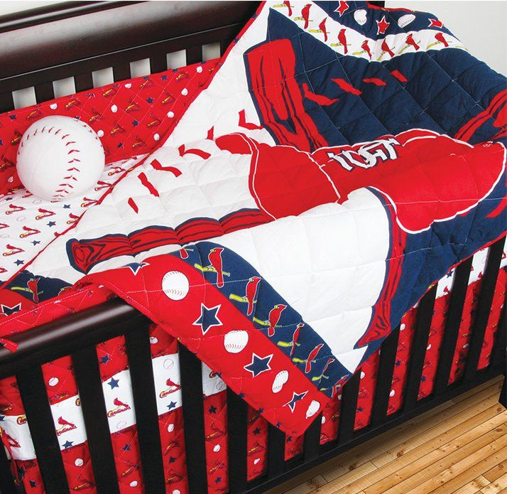 4pc MLB ST LOUIS CARDINALS CRIB BEDDING SET Baseball Baby Quilt Sheets Bedskirt