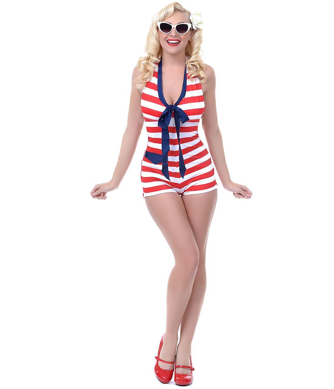LOLITA GIRL Red & White Stripe Retro One Piece Admiral Romper ...