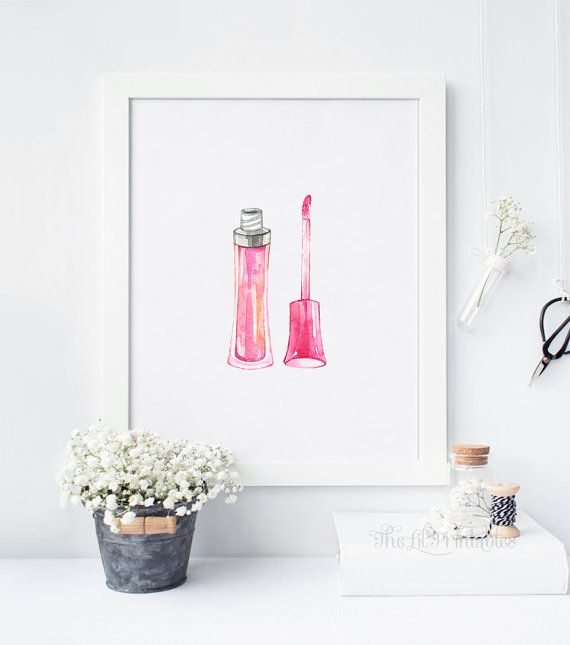Lipgloss Printable, Beauty Room Decor, Makeup Wall Art, Watercolor ...