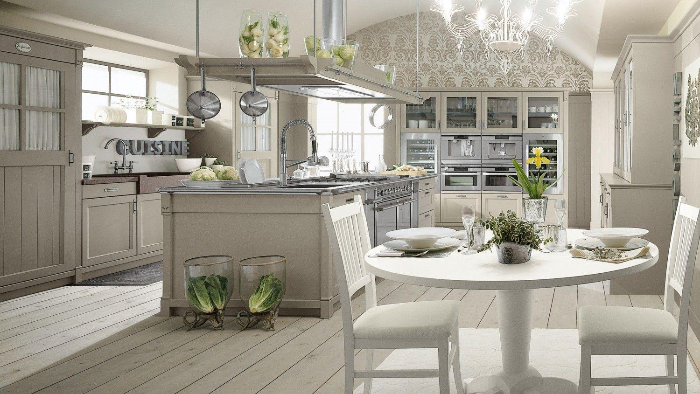 Cucina in stile country chic con isola, finitura Grigio ...