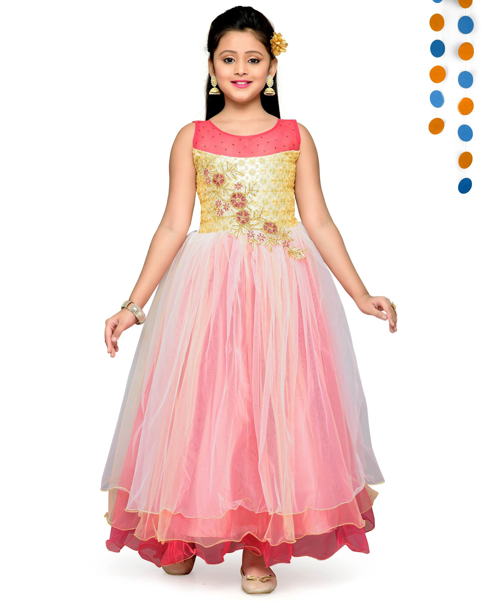 e467eb6f848 Buy Aarika Embroidered & Sequence Bell Pattern Silhouette Gown Peach ...