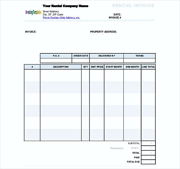 simple Rental Invoice Free Doc Format , Simple Invoice Template - rent invoice template excel