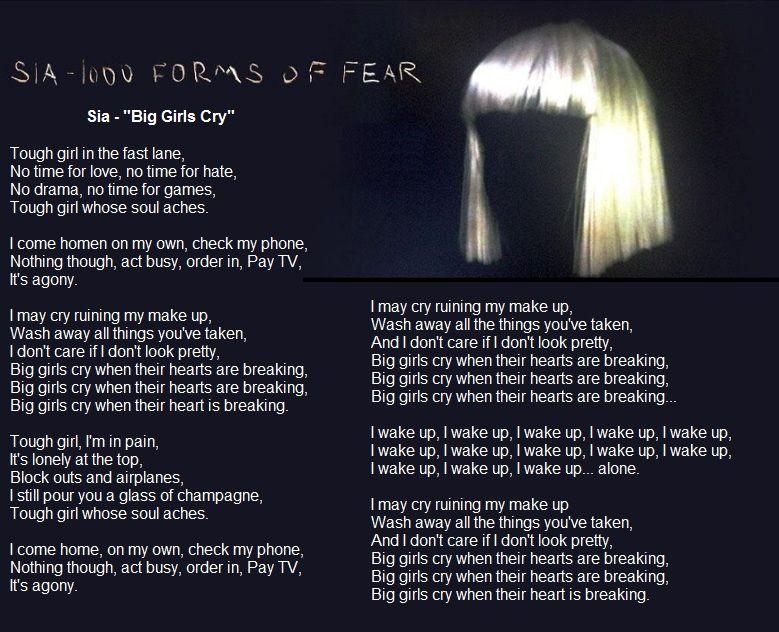 Lyric pretty girls lyrics : Sia 1000 Forms of Fear - Big Girls Cry lyrics | Lyrics i love ...