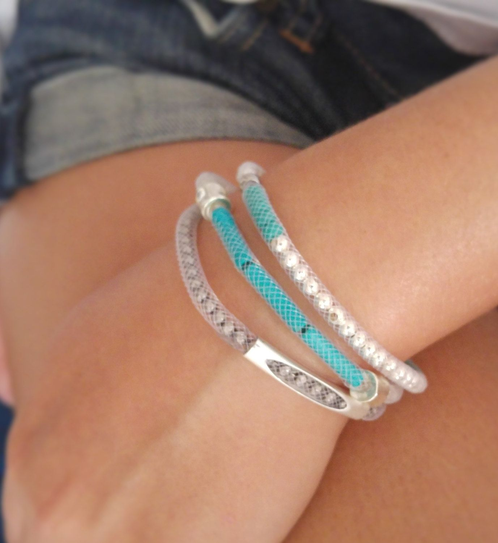 Blue Mesh Bracelet Statement Bracelet Mesh Wrap jewelry Mesh Hook