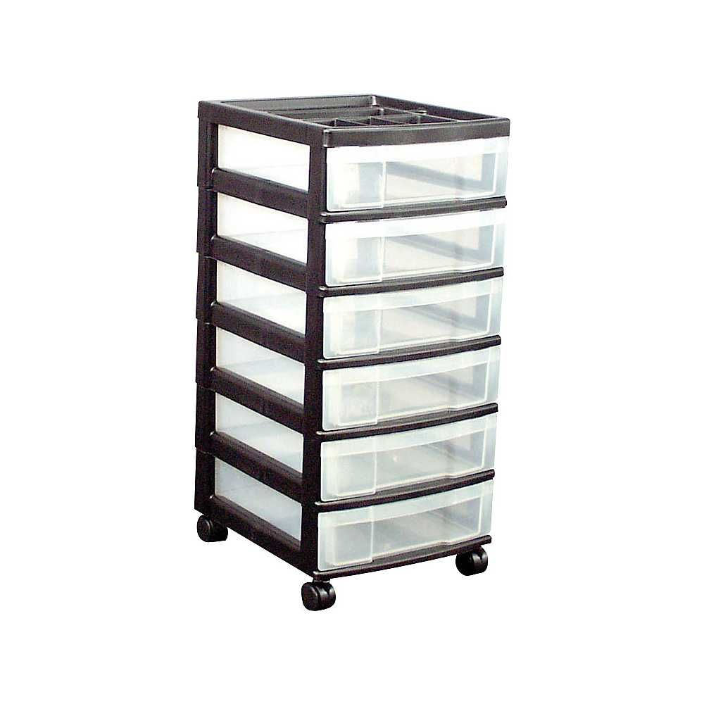 6 Drawers Durable Storage Cart Black Clear 116862 Plastic Storage Drawers Plastic Drawers Storage Drawers