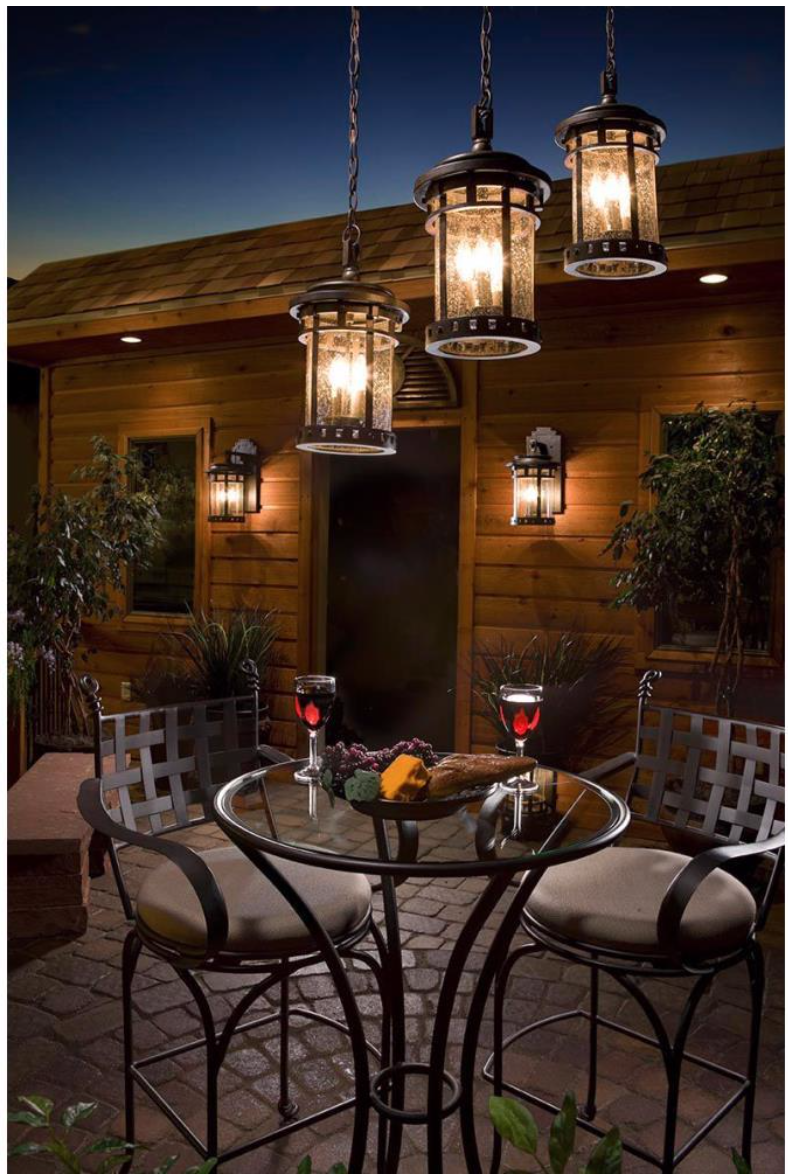 Santa Barbara Vx Three Light Outdoor Deck Mount Patio Lighting
